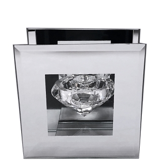 CN001 - Clear Glass Diamond-Shaped Tealight Holder with a Frame of Silver Mirror