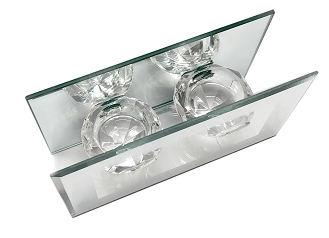 CN002 - Clear Glass Double Diamond-Shaped Tealight Holder with a Frame of Silver Mirror