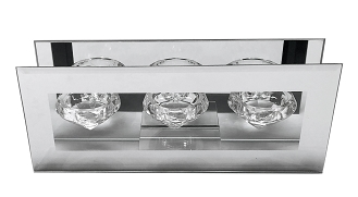 CN003 - Clear Glass Tripple Diamond-Shaped Tealight Holder with a Frame of Silver Mirror