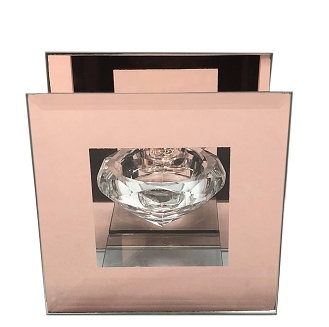 CN004 - Clear Glass Diamond-Shaped Tealight Holder with a Frame of Rose Gold Mirror
