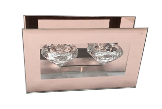CN005 - Clear Glass Double Diamond-Shaped Tealight Holder with a Frame of Rose Gold Mirror