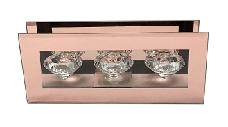 CN006 - Clear Glass Tripple Diamond-Shaped Tealight Holder with a Frame of Rose Gold Mirror