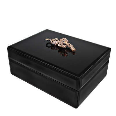 J200B - Large Rectangle Black Jewelry Box with Bejeweled Panther and Leopard Velvet Inside