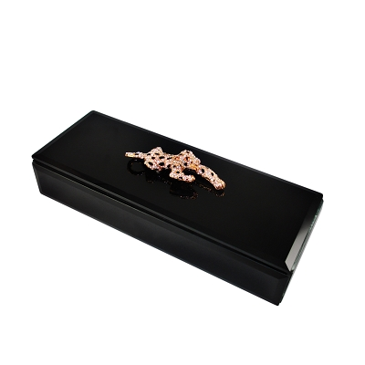J200S - Long Rectangle Black Jewelry Box with Bejeweled Panther and Leopard Velvet Inside