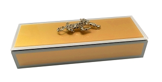 JN308 - Long Rectangle Gold Jewelry Box with Bejeweled Panther and Leopard Velvet Inside