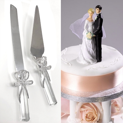 NCK26 - Cake Server Set with Crystal Bow Design