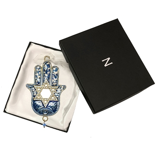 NC1 - Blue Ornament Hamsa and Star of David Hand Painted Enamel with Crystals