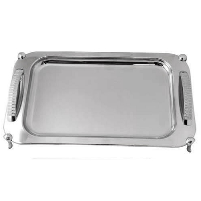 NC120 - Rectangular Tray with Silver Glitter Design Handle with Legs