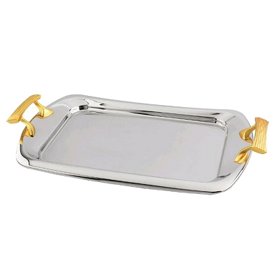 NC20G - Rectangular Serving Tray with Two Tone Gold Design Handle