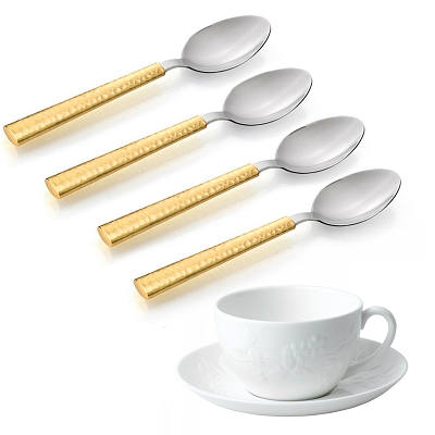 NC25G - Set of 4 - Stainless Steel Teaspoon Two Tone Gold Hammered Design Handle