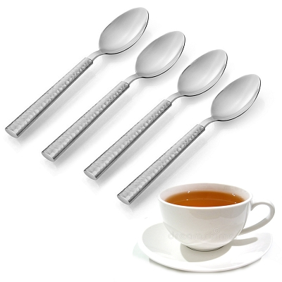 NC25S - Set of 4 - Stainless Steel Teaspoon Two Tone Silver Hammered Design Handle