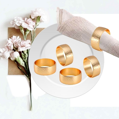 NC27G - Set of 4 Gold Tone Stainless Steel Napkin Rings