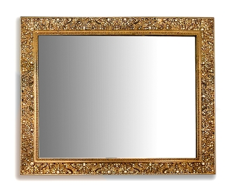 NC310G - Gold Vanity Victorian Beveled Mirror Tray with Intricately Detailed and Genuine Crystals