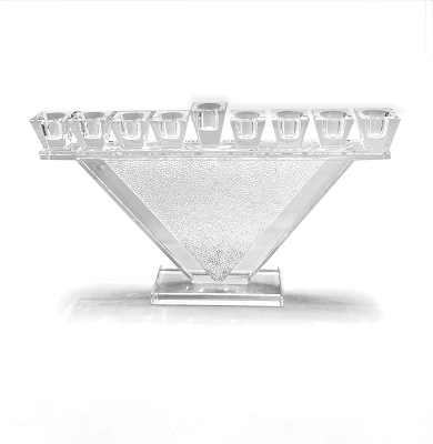 NC326 - Triangle Crystals Menorah with Crystal Filled Stems