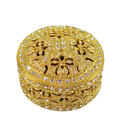NC337G - Gold Tone Vanity Round Jewelry Box Embellished with Genuine Crystals