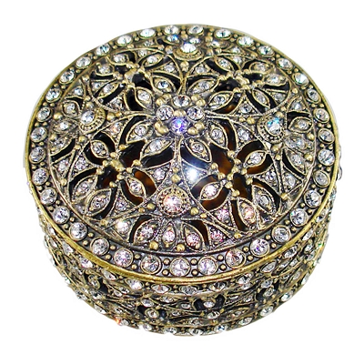 NC340H - Antique Gold - Bronze Gold Tone Round Jewelry Box