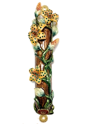 NC46BG - Yellow Flower Design Mezuzah with Genuine Crystals