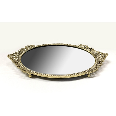 NC370 - Antique Gold - Bronze Classical Design Oval Mirror Tray