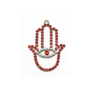 NC5 - Red Crystal Ornament Hamsa Hand