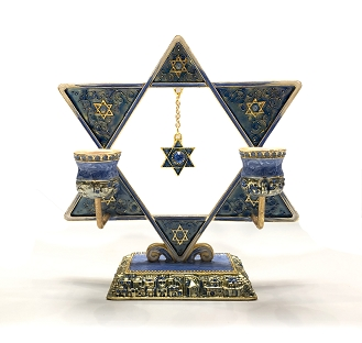 NC540 - Blue Star of David Hand Painted Enamel with Crystals Candle Holder