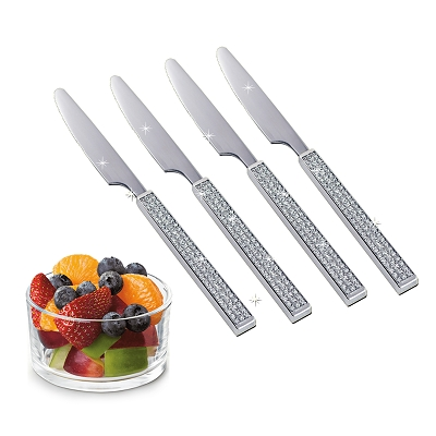 NC630 - Set of 4 - Stainless Steel Fruit Knife with Silver Glitter Design