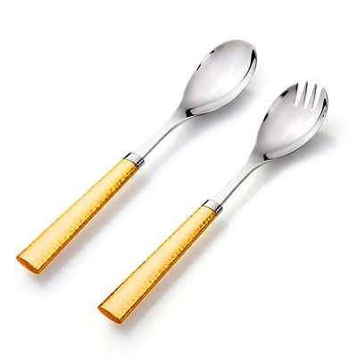 NC64G - Salad Server Set in Two Tone Gold Hammered Design Handle Stainless Steel