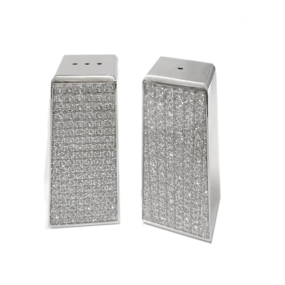 NC660 - Salt and Pepper Shaker Set Corrosion Resistant Stainless Steel Silver Glitter Galore Design