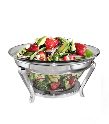 NC820 - Beautiful Salad Bowl with Italian Made Glass, Silver Glitter Design