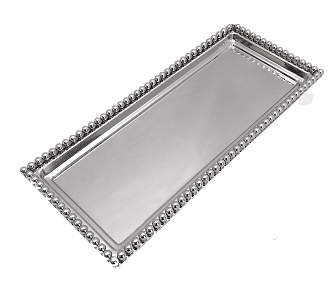 NCB5 - Rectangular Nickel Plated Tray with Bead Rim