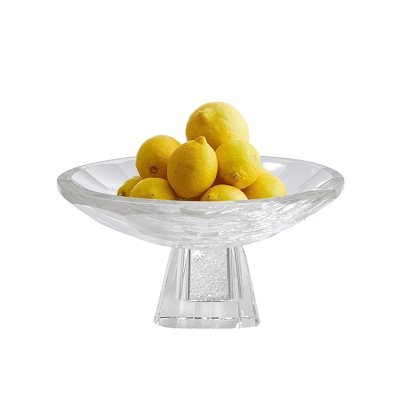 NCBOW1 - Small Crystal Fruit Bowl with Crystal-Filled Base in Diamond Design