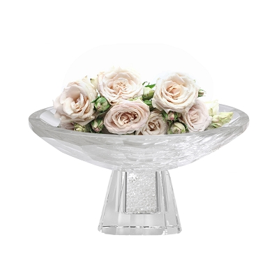 NCBOW2 - Medium Crystal Fruit Bowl with Crystal-Filled Base in Diamond Design