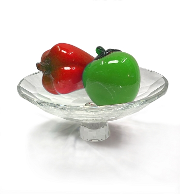 NCBOW3 - Large Crystal Fruit Bowl with Crystal-Filled Base in Diamond Design