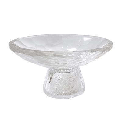 NCBOW3A - Large Crystal Fruit Bowl with Crystal-Filled Round Base in Diamond Design