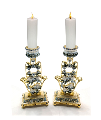 NCC12 - Shabbat Pair of 2 Blue Floral Hamsa Hand Candle Holder