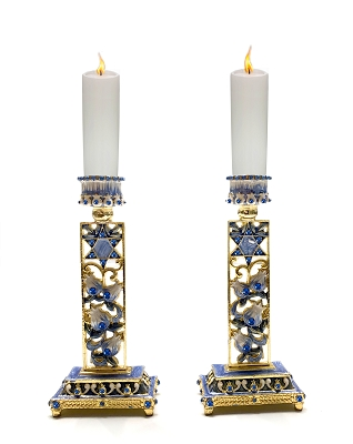 NCC14 - Shabbat Pair of 2 Blue Star of David & Floral Hand Painted Enamel with Crystals Candle Holder