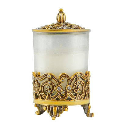 NCCH4 - Beautiful Gold Candle Holder Embellished with Genuine Crystals