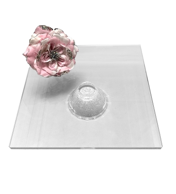 NCCK2 - Square Crystal Cake Platter with Crystal Filled Base