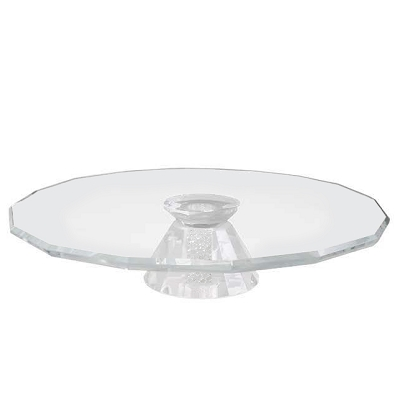 NCCK9 - Hexadecagon Shaped Crystal Cake Platter with Crystal Filled Base
