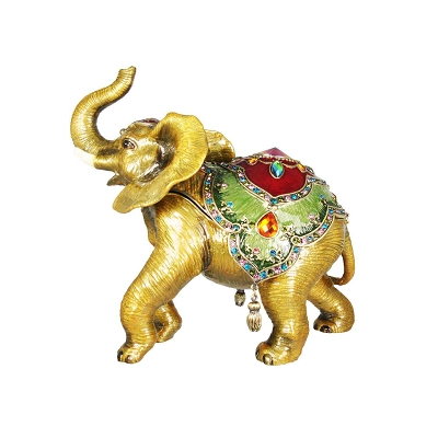 NCELE1 - Elephant Jewelry Box with Colorful Crystal