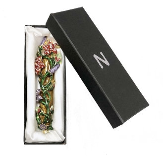 NCF10 - Flower Design Mezuzah with Genuine Crystals