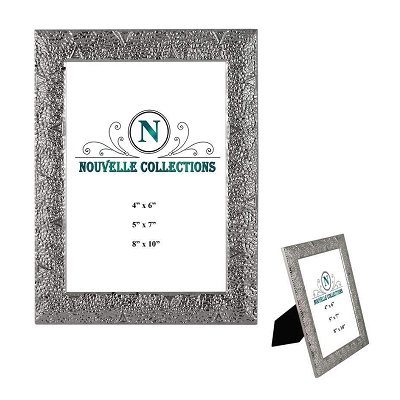 NCH46 - 4x6 Hammered Line Picture Frame with White Bronze Plating and Glitter