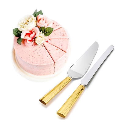 NCK5G - Cake Server Set with Knife and Server in Two Tone Gold Hammered Design Handle Stainless Steel