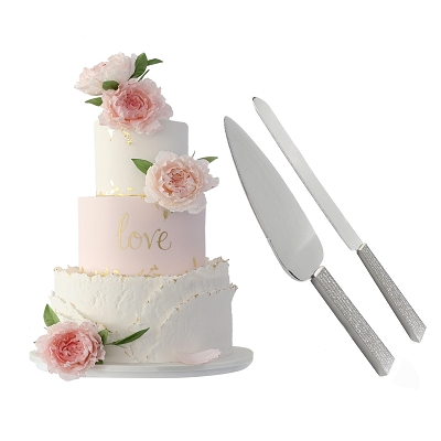 NCKS1 - Cake Server Set with Knife and Server in Silver Glitter Galore Design Handle, Stainless Steel