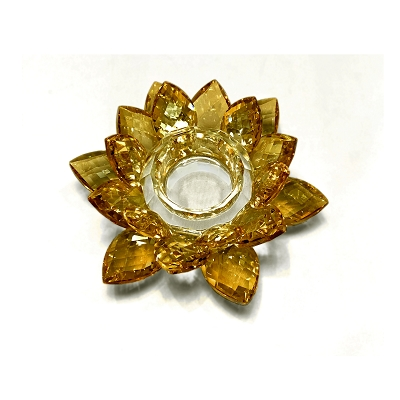 NCLO1S - Small Gold Lotus K5 Crystal Tea-Light Candle Holder
