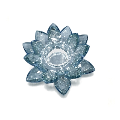 NCLO2S - Small Blue Lotus K5 Crystal Tea-Light Candle Holder