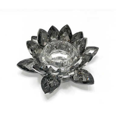 NCLO3S - Small Black Lotus K5 Crystal Tea-Light Candle Holder