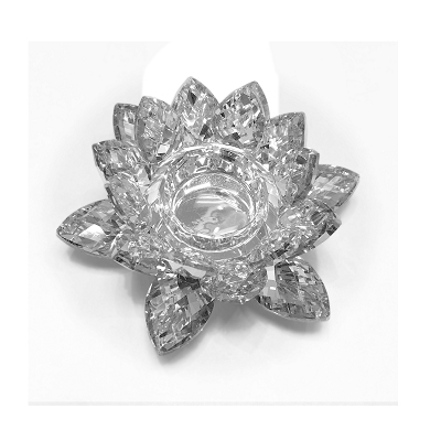 NCLO4S - Small Mirror Lotus K5 Crystal Tea-Light Candle Holder