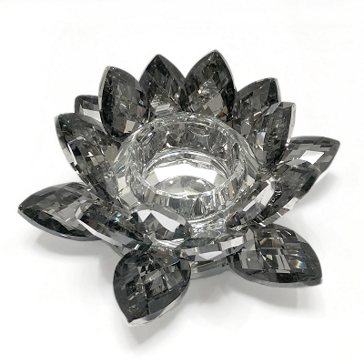 NCLO5S - Large Black Lotus K5 Crystal Tea-Light Candle Holder