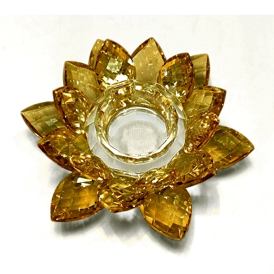 NCLO7S - Large Gold Lotus K5 Crystal Tea-Light Candle Holder
