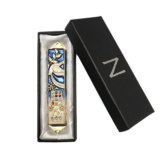 NCMZ1 - Blue Mezuzah Bird and Olive Design with Genuine Crystals
